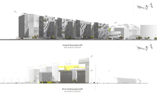 "Concept of the integrated social and housing project on the Vasilyevsky Island. Facades. A.Len. Photo courtesy by ""Glorax Development"""