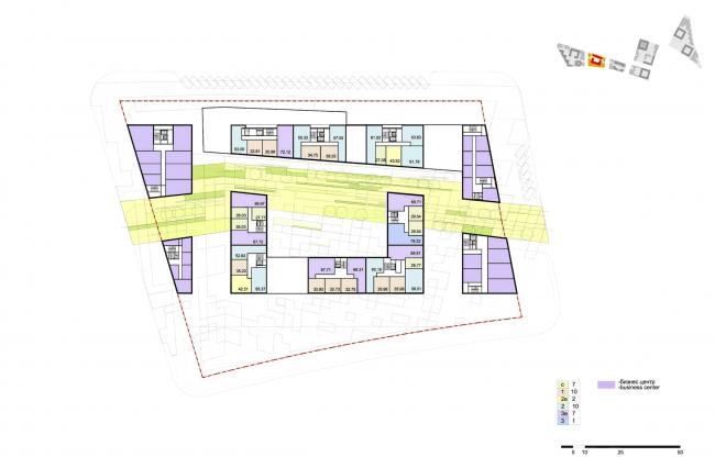 """Концепция комплексной общественно-жилой застройки на Васильевском острове. План типового этажа квартала 8 «Бриз». А.Лен. Изображение предоставлено """"Glorax Development"""""""