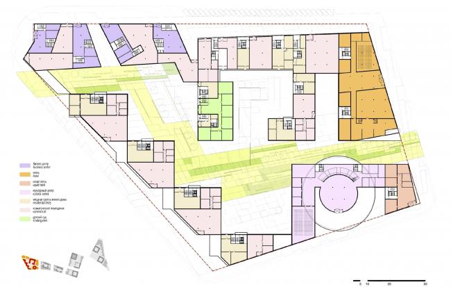 """Концепция комплексной общественно-жилой застройки на Васильевском острове. План 1 этажа квартала 9 «Сирокко».  А.Лен. Изображение предоставлено """"Glorax Development"""""""