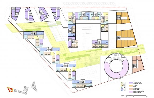 """Концепция комплексной общественно-жилой застройки на Васильевском острове. План типового этажа квартала 9 «Сирокко».  А.Лен. Изображение предоставлено """"Glorax Development"""""""