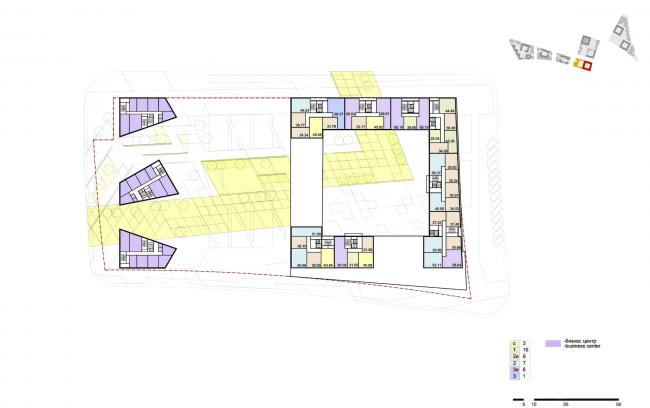 """Концепция комплексной общественно-жилой застройки на Васильевском острове. План типового этажа квартала 6 «Борей». А.Лен. Изображение предоставлено """"Glorax Development"""""""