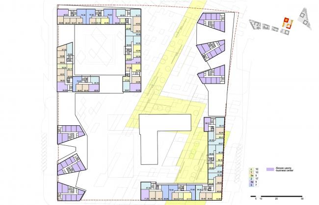 """Концепция комплексной общественно-жилой застройки на Васильевском острове. План типового этажа квартала 5 «Пассат». А.Лен. Изображение предоставлено """"Glorax Development"""""""
