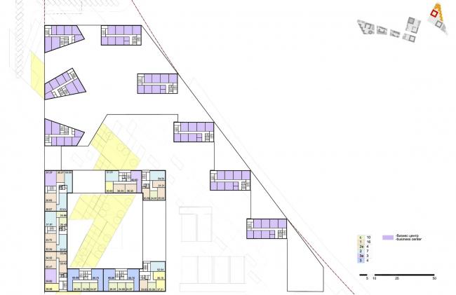 """Концепция комплексной общественно-жилой застройки на Васильевском острове. План типового этажа квартала 4 «Мистраль». А.Лен. Изображение предоставлено """"Glorax Development"""""""