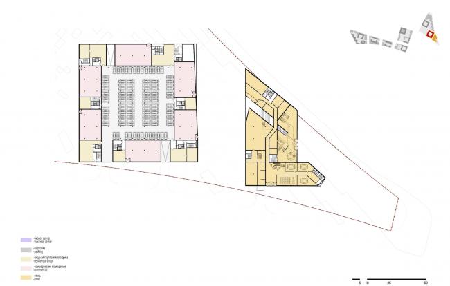 """Концепция комплексной общественно-жилой застройки на Васильевском острове. План 1 этажа квартала 4 «Мистраль». А.Лен. Изображение предоставлено """"Glorax Development"""""""