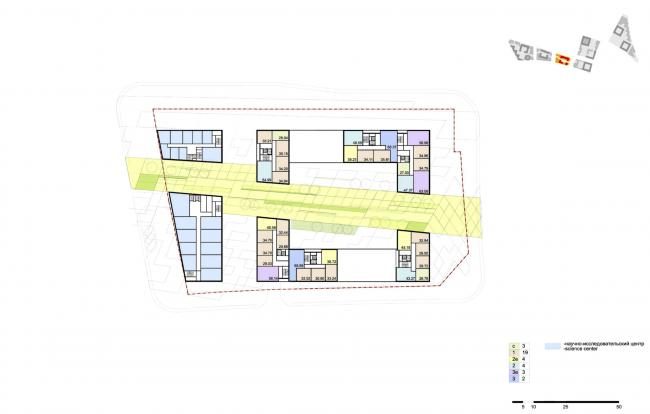 """Концепция комплексной общественно-жилой застройки на Васильевском острове. План типового этажа квартала 7 «Аквилон». А.Лен. Изображение предоставлено """"Glorax Development"""""""