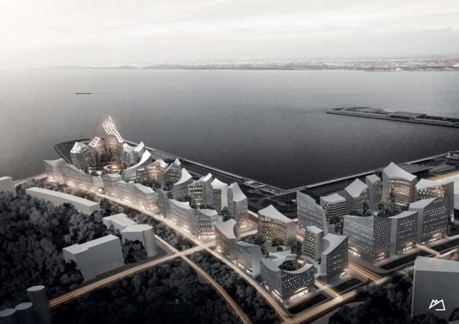"Concept of the integrated social and housing project on the Vasilyevsky Island. Snohetta. Photo courtesy by ""Glorax Development"""