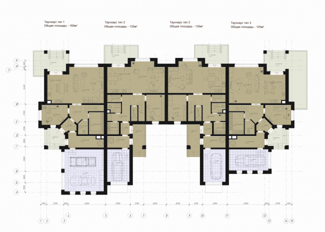The architectural and planning concept of the residential projectin Kirov. An example of development in the style of historicism. Project, 2015 © Archstroydesign