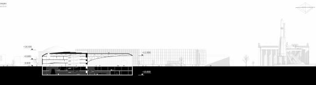 Павильон «Росатома» на ВДНХ. Разрез © UNK project