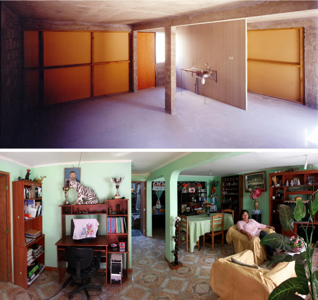 Жилье в Кинто-Монрой (2004) до и после достройки жителями ©  Cristobal Palma