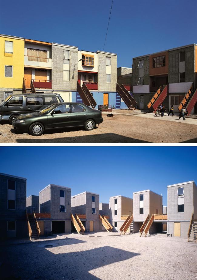 Жилье в Кинто-Монрой (2004) после и до достройки жителями ©  Cristobal Palma