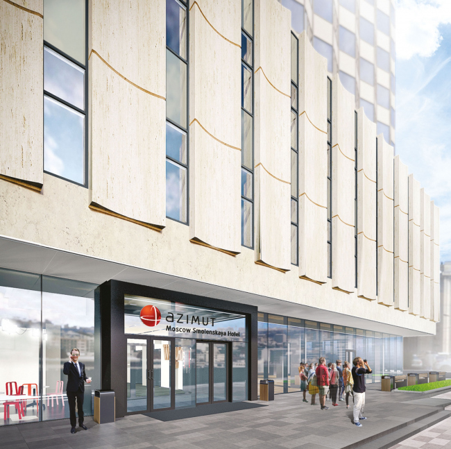"""Project of renovating """"Belgrade"""" Hotel. The entrance group without the marquee © T+T Architects"""