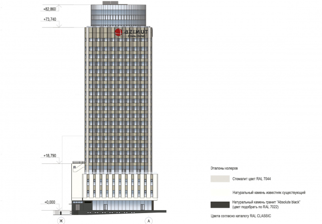 """Project of renovating """"Belgrade"""" Hotel. Facade © T+T Architects"""