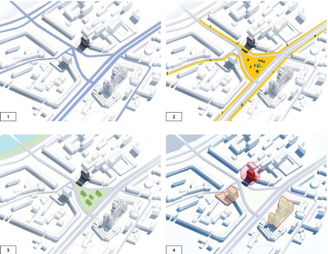 Проект перепланировки гостиницы «Белград». Схема пространственной организации территории © T+T Architects