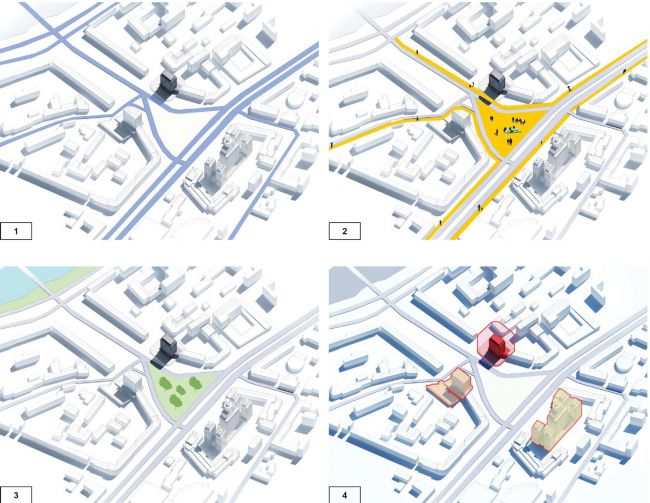 """Project of renovating """"Belgrade"""" Hotel. Map of the territoriaal organization © T+T Architects"""