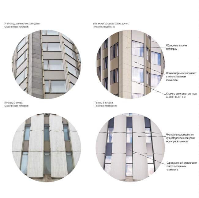 "Project of renovating ""Belgrade"" Hotel. Details of the facade © T+T Architects"