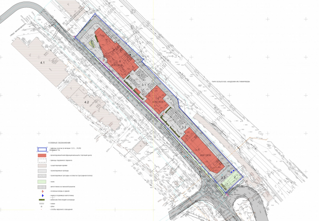 Multifunctional complex and shopping mall at the Akademika Ilyushina Street. Master plan © Asadov Architectural Bureau