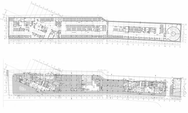 Многофункциональный комплекс и торговый центр на ул. Академика Ильюшина. Планы 1-2 этажей © Архитектурное бюро Асадова