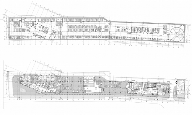 Multifunctional complex and shopping mall at the Akademika Ilyushina Street. Plans of the first and second floors © Asadov Architectural Bureau