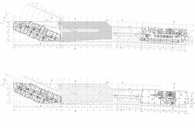 Многофункциональный комплекс и торговый центр на ул. Академика Ильюшина. Планы 4-9 этажей © Архитектурное бюро Асадова