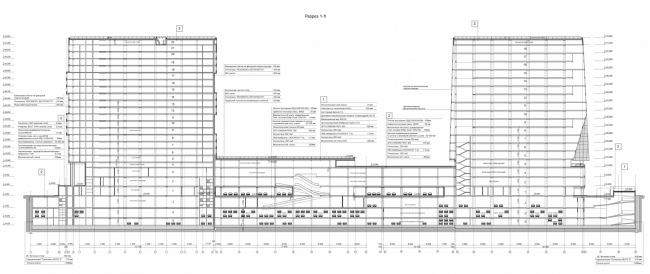 Многофункциональный комплекс и торговый центр на ул. Академика Ильюшина. Разрез © Архитектурное бюро Асадова