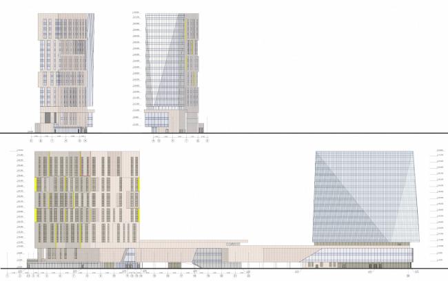 Multifunctional complex and shopping mall at the Akademika Ilyushina Street. Facades © Asadov Architectural Bureau