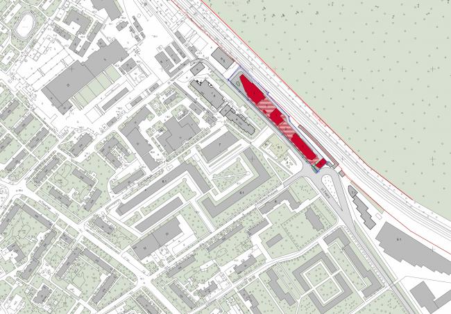 Multifunctional complex and shopping mall at the Akademika Ilyushina Street. Location plan © Asadov Architectural Bureau