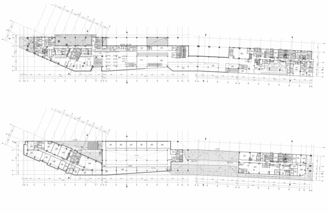 Multifunctional complex and shopping mall at the Akademika Ilyushina Street. Plans of the second and third floors © Asadov Architectural Bureau