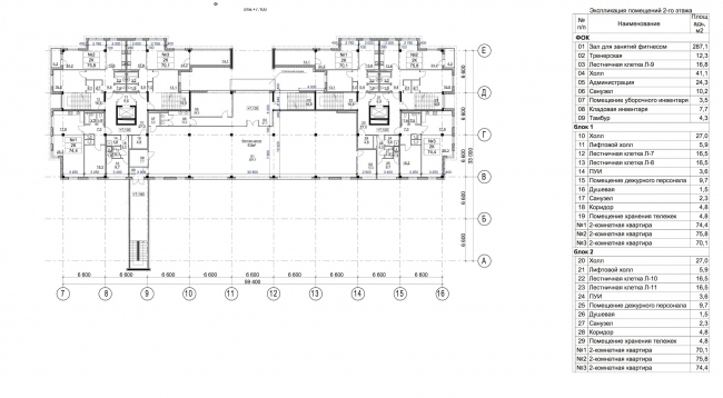 Residential complex in Kaluga. Plan of the 2nd floor. Apartments, Fitness Center. Project, 2015 © GrandProjectCity