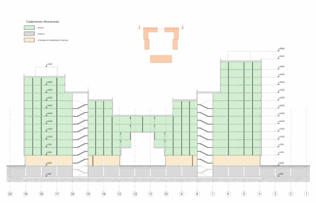 Residential complex in Kaluga. Section view. Project, 2015 © GrandProjectCity