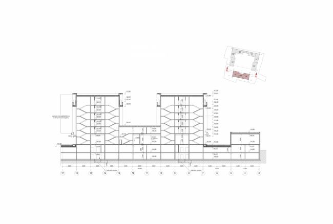 Жилой комплекс в Калуге. Разрез. Проект, 2015 © ГрандПроектСити