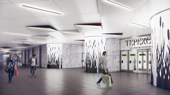 """Terekhovo"" metro station. The area of the underground lobbies @Sergey Estrin Architects"
