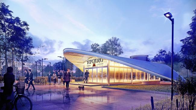 """Terekhovo"" metro station. View of the entrance pavilion @Sergey Estrin Architects"