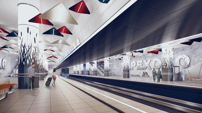 """Terekhovo"" metro station. The platform area @Sergey Estrin Architects"