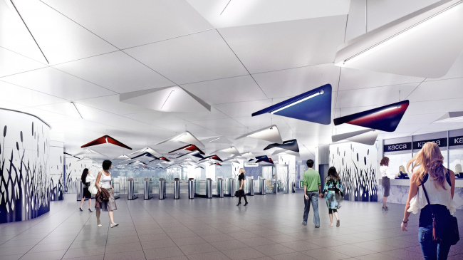 """""""Terekhovo"""" metro station. The area of the ticket offices and the moving stairs @Sergey Estrin Architects"""