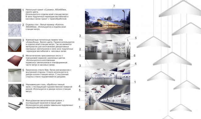 """""""Terekhovo"""" metro station. Palettes of the employed materials @Sergey Estrin Architects"""