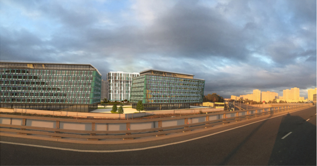 Жилой комплекс на Барвихинской улице. Вид со стороны МКАД. Проектировщик: архитектурное бюро «Аймекс-Групп»