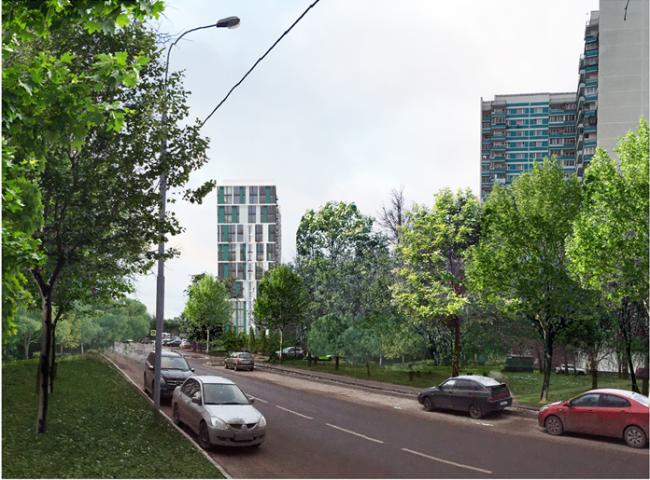 Жилой комплекс на Барвихинской улице. Вид со стороны улицы. Проектировщик: архитектурное бюро «Аймекс-Групп»