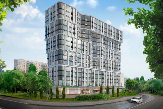 Жилой комплекс на Барвихинской улице. Первый вариант решения фасадов. Проектировщик: архитектурное бюро «Аймекс-Групп»
