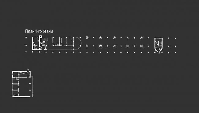 Проект реставрации и приспособления выявленного объекта культурного наследия «Здание дома-коммунны Наркомфина». План 1 этажа. Проект, 1995-2007 © Гинзбург Архитектс