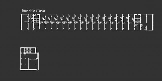 Проект реставрации и приспособления выявленного объекта культурного наследия «Здание дома-коммунны Наркомфина». План 4 этажа. Проект, 1995-2007 © Гинзбург Архитектс