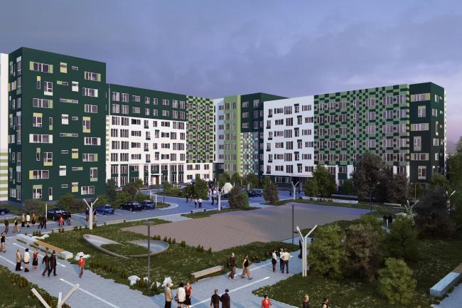 Варианты фасадных решений для квартала в г. Видное. Вариант 2. Проект, 2015 © PANACOM