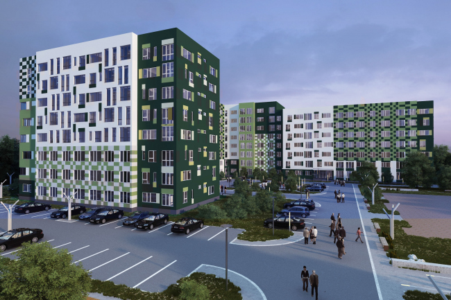 Options of the facade solutions for the residential quarter in the town of Vidnoe. Option 2. Project, 2015 © PANACOM