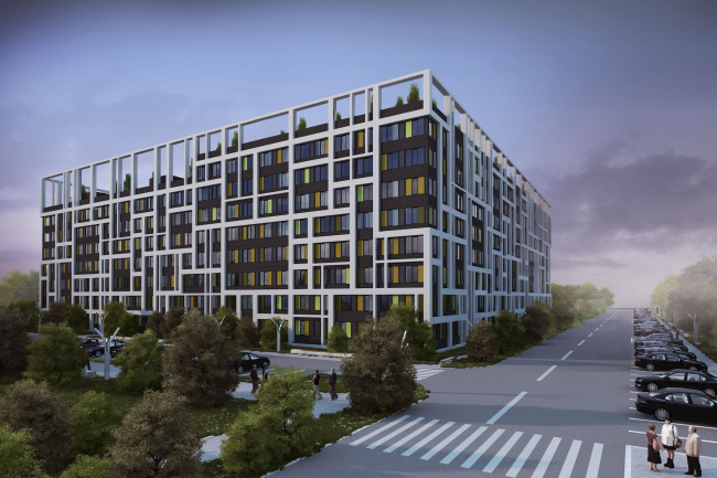 Options of the facade solutions for the residential quarter in the town of Vidnoe. Option 3. Project, 2015 © PANACOM