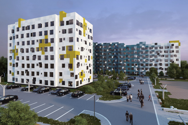 Options of the facade solutions for the residential quarter in the town of Vidnoe. Option 1. Project, 2015 © PANACOM