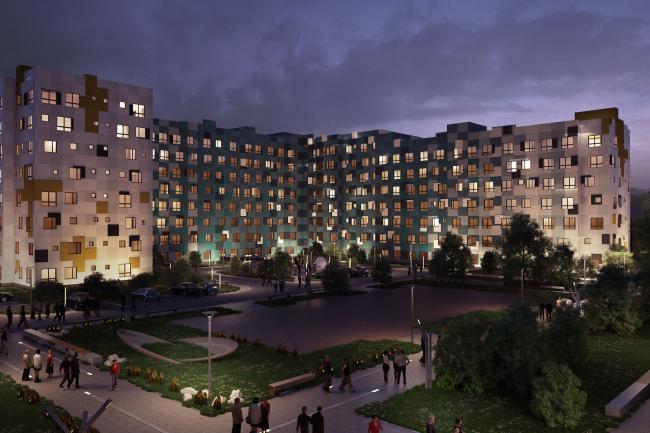 Варианты фасадных решений для квартала в г. Видное. Вариант 1. Проект, 2015 © PANACOM