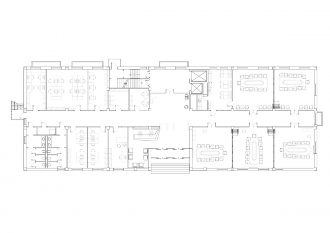 """""""Zhaikmunai"""" buiness center. Plan of the 1st floor. Construction, 2015. Photo © UNK Project"""