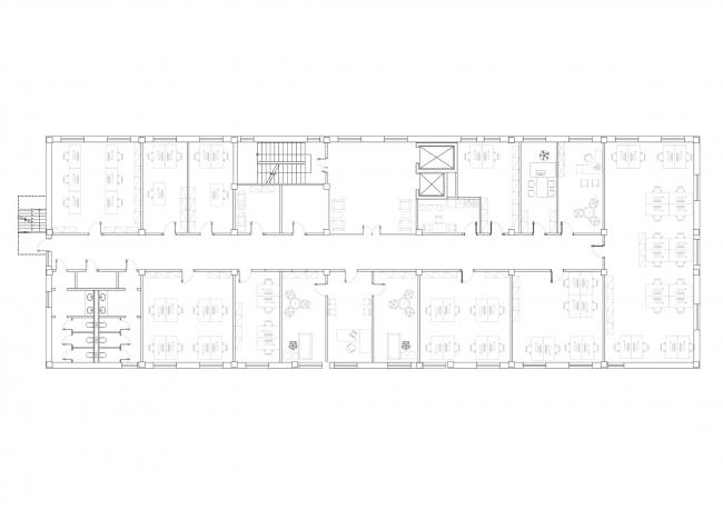 Бизнес-центр «Жайкмунай». План типового этажа. Постройка, 2015 © UNK Project