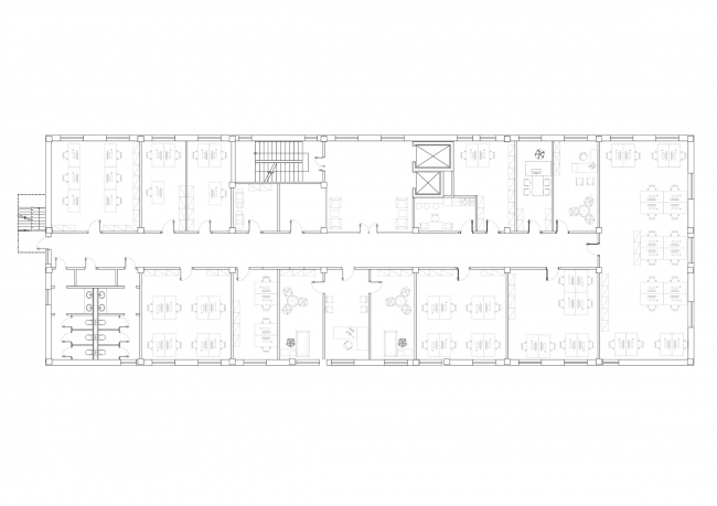 """""""Zhaikmunai"""" buiness center. Plan of the typical floor. Construction, 2015. Photo © UNK Project"""
