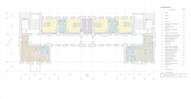 Офисное здание на ул. 2-ая Боевская. Функциональное зонирование 2 этажа © Архитектурная мастерская Лызлова