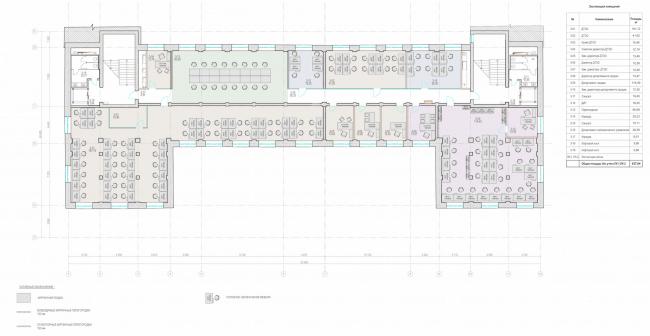 Офисное здание на ул. 2-ая Боевская. Функциональное зонирование 3 этажа © Архитектурная мастерская Лызлова